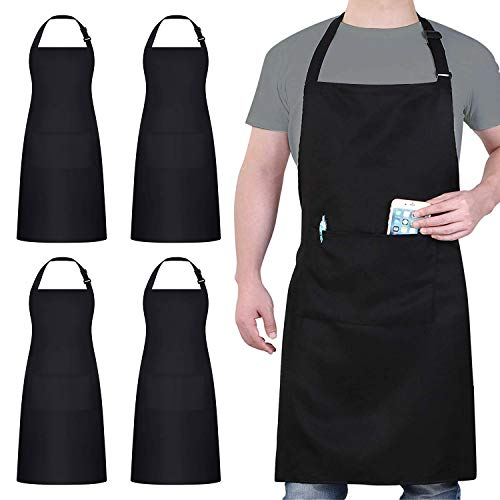 4 Packs Chef Apron, Black Waterproof Apron, Adjustable Apron with 2 Pockets for Men Women, Professional Apron for Kitchen Cooking Gardening Painting Baking Restaurant (Upgrade)