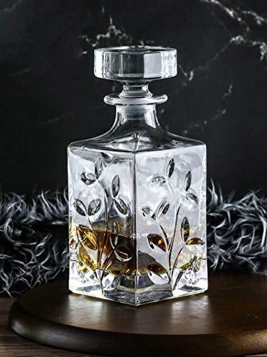 Carafe En Cristal Avec Airtight Géométrique Stopper - Whisky Carafe For Le Vin, Bourbon, Brandy, Alcools, Jus, Eau, Rince-bouche.Sans Plomb En Verre Italien | 630ML