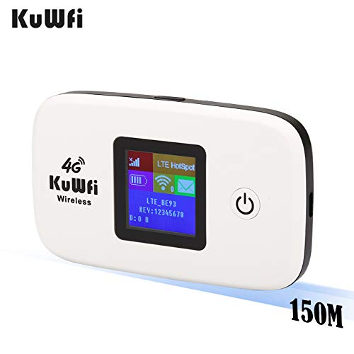 KuWFi 4G LTE Mobile WiFi Hotspot Unlocked Wireless Internet Router Devices with SIM Card Slot for Travel Support B2/B4/B5/B12/B17 Network Band for AT&T/T-Mobile