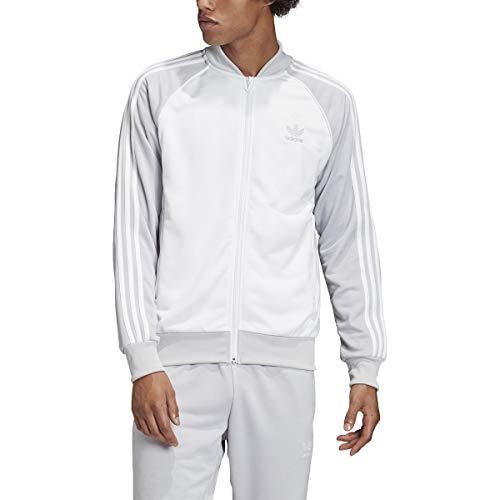adidas Originals Men's Superstar Track Jacket (Medium, White/Grey/White)