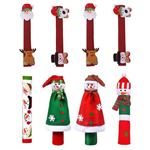 OSALADI 8 Unids Navidad Manija de La Puerta Del Refrigerador Cubre Muñeco de Nieve Santa Clause Antideslizante Manija Del Refrigerador Cubiertas Protectoras Guantes para Microondas