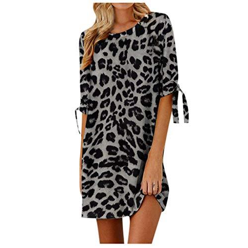Janly Clearance Sale Vestidos para mujer, verano, con estampado de leopardo, sexy, casual, suelto, media manga, vestido corto, vestido de manga corta, para invitadas de boda, color marrn