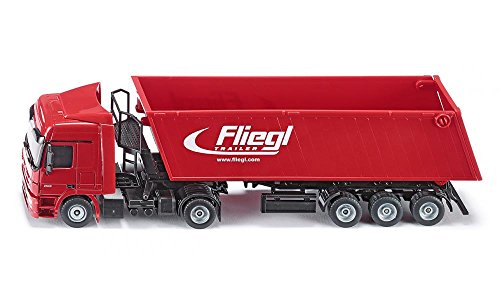 siku 3537, LKW mit Muldenkipper, 1:50, Metall/Kunststoff, Rot, Kippbare Mulde