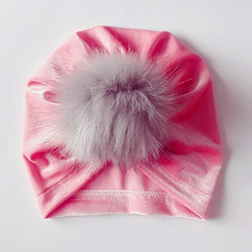 Tianhaik baby meisjes turban kinderen Indiase muts katoen twist bandana hoed hoofd wikkelen rekbaar wrap met Fuzzy Ball