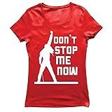 lepni.me Camiseta Mujer Don't Stop me Now! Camisas de Abanico, Regalos de músicos, Ropa de Rock (XX-Large Rojo Multicolor)