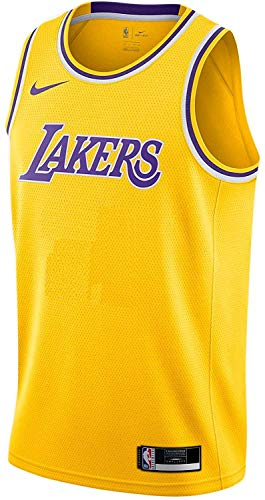 Nike Los Angeles Lakers NBA Boys Youth 8-20 Yellow Blank Wordmark Dri-Fit Team Jersey (Youth X-Large 18-20)