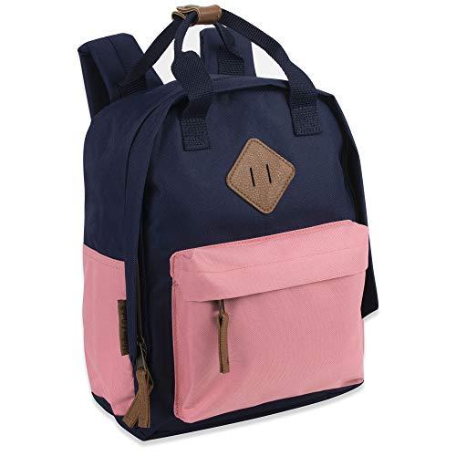 Mini-Rucksack aus Segeltuch für Alltag und Tagesrucksack in einfarbigen Farbblöcken., Navy/Pink (Mehrfarbig) - 7763s