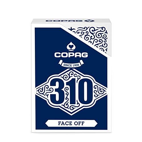 Baraja de Cartas Copag 310 Face Off Blue Slimline - Baraja con Caras Blancas y Dorso Azul