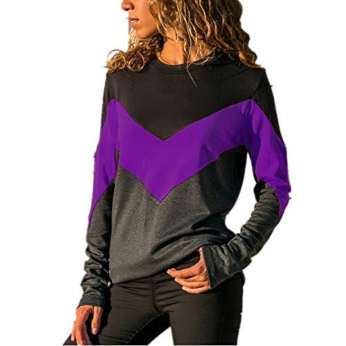 TTMMI Damen Langarmshirt Sweatshirt Pullover Streifen Farbblock Patchwork Rundhals T Shirts Tops Lose Casual Jumper Bluse Oberteil S-2XL