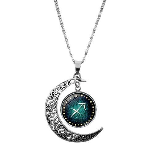 JER Collar Colgante Hueco Creativa de la Media Luna constelación de Sagitario Delicado suéter Largo de la Cadena de joyería de Moda