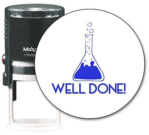 MaxMark Round Teacher Self Inking Stamp - Well Done! - Jumbo Series, Style TS305 with Blue Ink