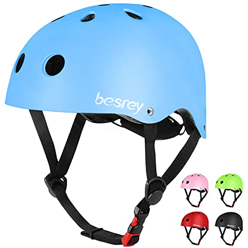 besrey Casque de vélo garçon et Fille Casque de Planche à roulettes, Patins à roulettes de Scooter Casque de vélo léger et sûr pour Enfants de 3 à 12 Ans ,Multi-Sport, Bleu