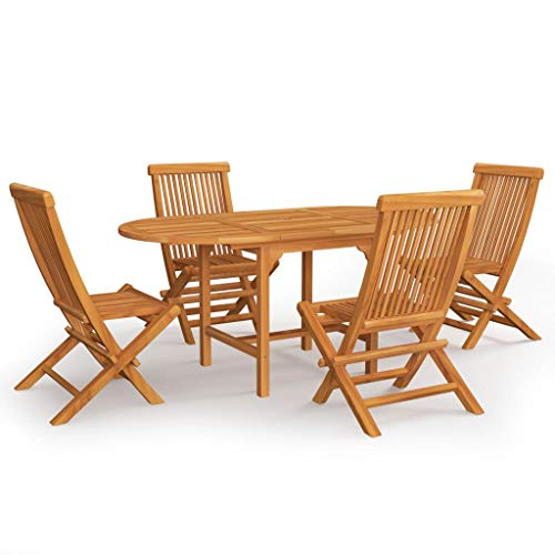 BIGTO Outdoor Dining Set A of 5 Pcs Solid Acacia Wood Garden Table Chair Set Patio Furntain