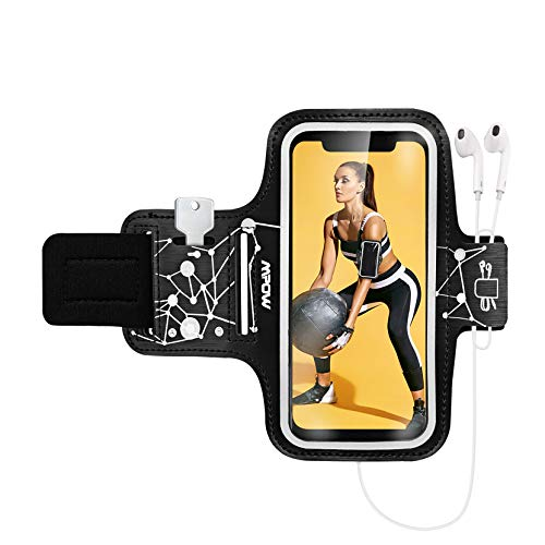 Mpow Phone Armband for Running, Phone Armband for iPhone 11 Pro 11 XR XS X 8 7 6 6S, Samsung Galaxy S9 S8 S7[Up to 6.1''], with Headphone Slot Key Slot for Running Exercise, Starry Sky Pattern