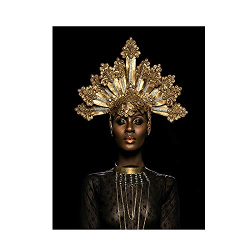 Abstract Gold Crown Black African Woman Oil Painting on Canvas Posters and Prints Scandinavian Wall Art Picture for Living Room (Unframed-No Framed,20x30inch)