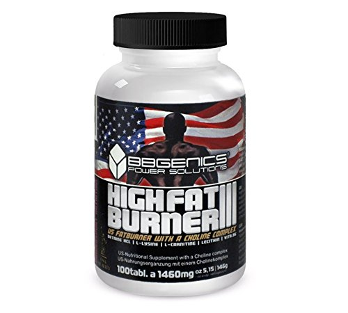 BBGenics, HighFat Burner III con inositol, para quemar grasa rápido, 100 comprimidos