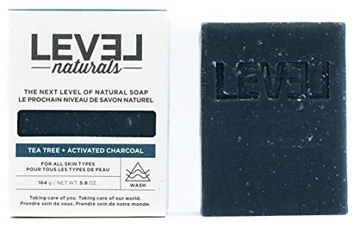 Tea Tree + Activated Charcoal Bar Soap, Natural Exfoliating Skin Detox, Face and Body, 5.8oz Bar By Level Natural