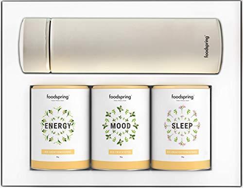 foodspring Functional Tea Set, All-Day Vitality, 3 x 70g, Bio Tee für Vitalität inkl. Thermosflasche für zuhause und unterwegs