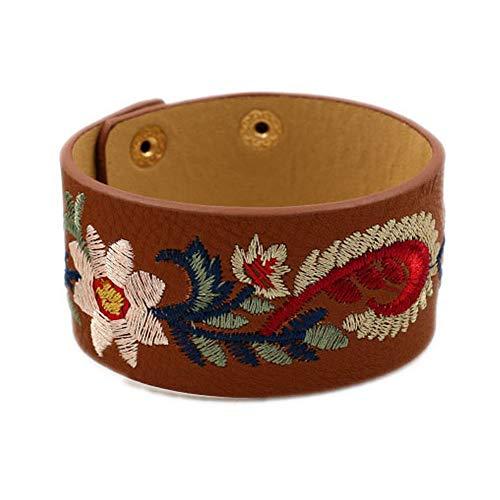 L&N Rainbery Bohemia Embroidery Flower Cuff Bracelet Female Fashion Wide PU Leather Bracelets & Bangles Women Jewelry (Style #2 Black)