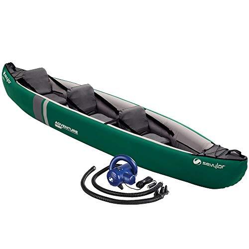 Sevylor-Kabra Kit Kayak Hinchable Adventure Plus Bricolemar de 2+1 plazas + inflador eléctrico de 12V y 1Bar