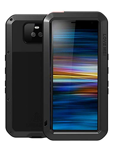 GFU Tempered Glass Sony Xperia 10 Plus Case, Full Body Outdoor Protective Cover Shell for Sony Xperia 10 Plus Ultra Armor Hybrid TPU Metal Silicone Heavy Duty Shockproof (Black, Xperia 10 Plus)