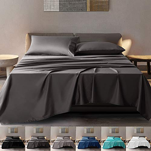 SONORO KATE 100% Pure Egyptian Cotton Sheets Sets,Cooling Bed Sheets 600 Thread Count Long Staple Cotton,Sateen Weave for Soft and Silky Feel, Fits Mattress 16'' Deep Pocket (Dark Grey, Queen)
