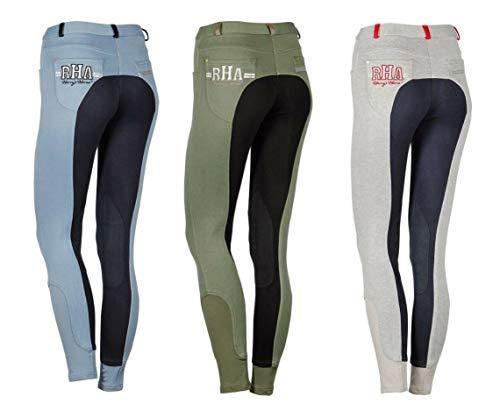 netproshop Damen Baumwoll Reithose Brixham mit Kontrastfarben und Kniebesatz Gr.36-46, Damengroesse:38, Farbe:Hellblau
