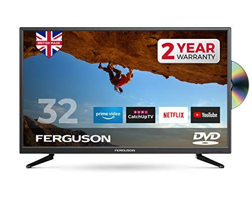"FERGUSON 32"" SMART LED TV WITH DVD Player 4 x HDMI 2 x USB. TOP SPEC SMART TV DOWNLOAD MEDIA APPS & APK FILES - BRITISH MANUFACTURER - F32SFSD Black"