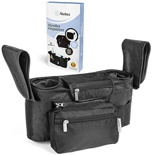 Abebez Universal Stroller Organizer with Insulated Cup Holders - Detachable Pouch to Double in Size, for Stroller Like Uppababy, Baby Jogger, Britax, Bugaboo, BOB, Umbrella and Pet Stroller