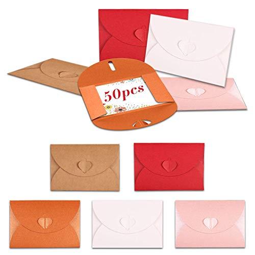 LATTCURE 50 stycken hjärtkuvert, minipresentkort kuvert minikuvert mini kraftpapper kuvert med hjärta stängning gratulationskort jul alla hjärtans dag presentkort, 5 färger
