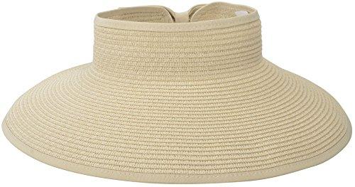 Simplicity Women's Wide Brim Straw Sun Hat Roll-up Straw Sun Visor Off-White
