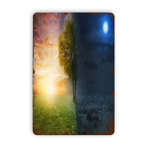 DAOPUDA Segni di metallo,Paesaggio notturno e diurno con un solo albero,Tin Sign Wall Iron Painting...