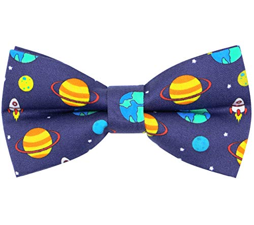 OCIA Cotton Cute Pattern Pre-tied Bow Tie Adjustable Bowties for Mens & Boys Space Pattern