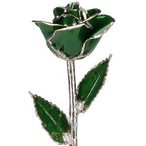living gold real rose dipped in platinum (dark green) silk flower arrangements