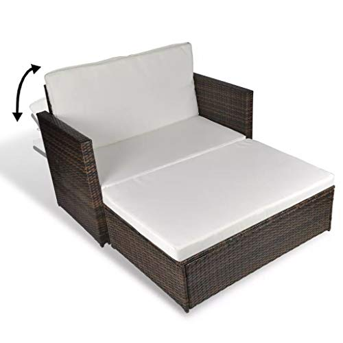 3 in1 Poly Rattan Braun Lounge Gartensofa Gartengarnitur, Rattan-Lounge, Indoor & Outdoor, 2er Garten-Sofa inkl. Kissen & Auflagen,Sofa-Set Garnitur Gartenmöbel Couch-Set - 5