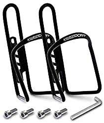 Audro mountain bike water bottle holder aluminum cage 2 pack, black color.