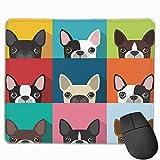 Niedliche Mausunterlage, haltbare genähte Kante, rutschfeste Gummibasis Computertastatur Mauspads für Büro - Hund Boston Terrier Niedlicher Spaß Cartoon Haustiere Hunde Kopf Gesicht