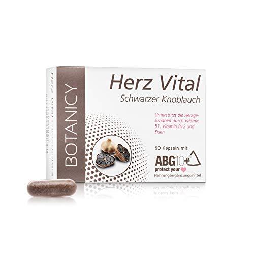 HERZ VITAL, hochdosierte Knoblauch Kapseln, ABG10+ schwarzer Knoblauchextrakt, beste Bioverfügbarkeit, für Herz und Gefäße (60 Kapseln, Monatspack)