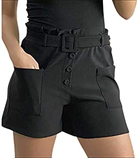 Xpose Ladies Smart Office Wear Buckle Belted Front Button Pocket Casual Summer Work Shorts Hot Pants Rust Khaki Nude Black...