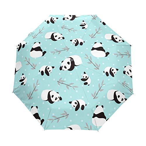 Paraguas Plegable de Oso Panda Azul Resistente al Viento y a la Lluvia, Cierre automático, protección UV para Mujeres y Hombres