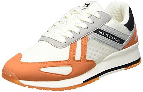 SCOTCH & SODA FOOTWEAR Herren VIVEX Sneaker, White/orange, 42 EU