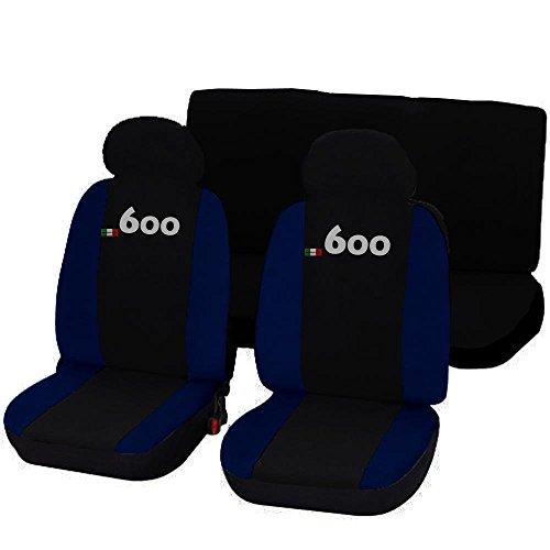 Lupex Shop 600_NBS Coprisedili Auto, Bicolore Nero/Blu Scuro, Set di 6