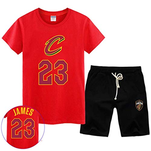 LLSDLS T-Shirt NBA Fan Trikot Set Cleveland Cavaliers Retired Commemorative Kurzarm Herren Sweatshirt James # 23 Basketball Halbarm Sport Set Blau-3-XXXXXL T-Shirt (Color : Red-4, Size : Large)