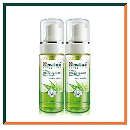 Himalaya Herbals Neem Face Wash Foam con extracto de cúrcuma - Limpiador facial a base de hierbas - hipoalergénico, sin parabenos - PROBADO DERMATOLÓGICAMENTE - 150 ml (paquete de 2)