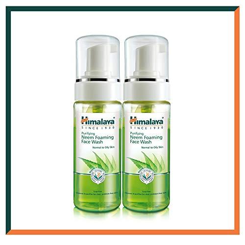 Himalaya Herbals Neem Face Wash Foam con extracto de curcuma - Limpiador facial a base de hierbas - hipoalergenico, sin parabenos - PROBADO DERMATOLÓGICAMENTE - 150 ml (paquete de 2)