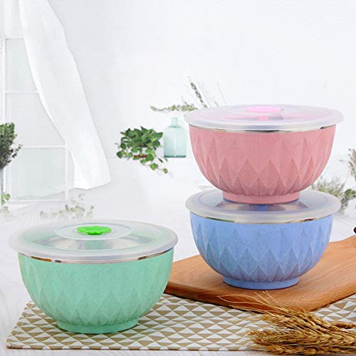 Anyi 3 Pieces 304 Stainless Steel Mixing Bowl Stainless Steel Colorful Diamond Bowl Double-Layer Heat Insulation Colorful Heat Preservation Anti-Scalding Bowl