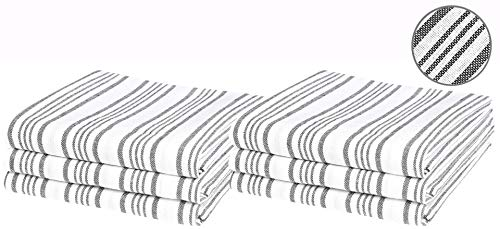 Classic Vintage Stripes 6-Piece 18x28 Kitchen Dish Towel Set 100% Pure Cotton Quick Dry Absorbent Cleaning Towels Charcoal