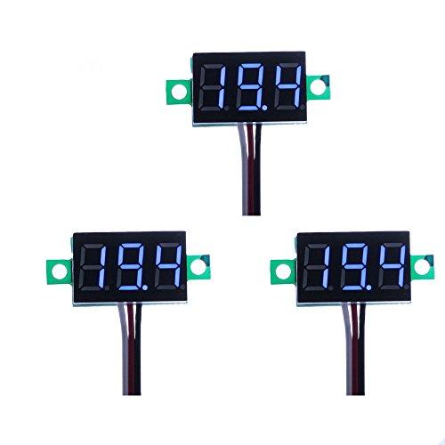 ELENKER 3 Stück Mini Digital Voltmeter Blau LED Panelmeter 3 Kabel, Messbereich DC 0-100V, Eingang DC 5V-30V