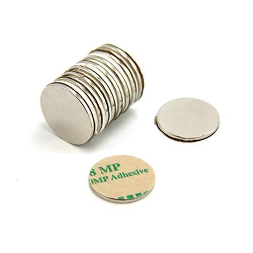 First4magnets F2015NA-10 zelfklevende 20 mm diameter x 1,5 mm N42 neodymium magneten 2 kg trekken (pak van 10), zilver, 25 x 10 x 3 cm