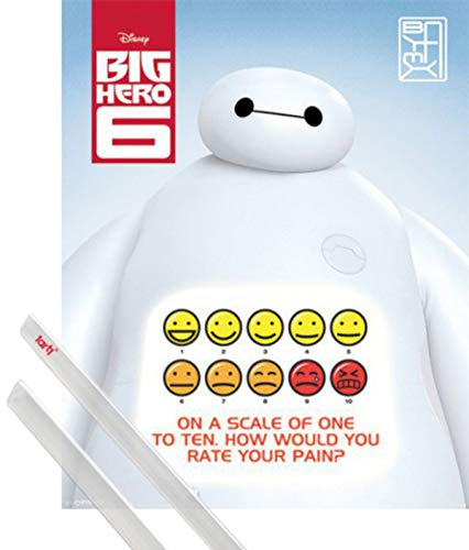 1art1 Baymax, Riesiges Robowabohu Mini-Poster (50x40 cm) Rate Your Pain Inklusive EIN Paar Posterleisten, Transparent